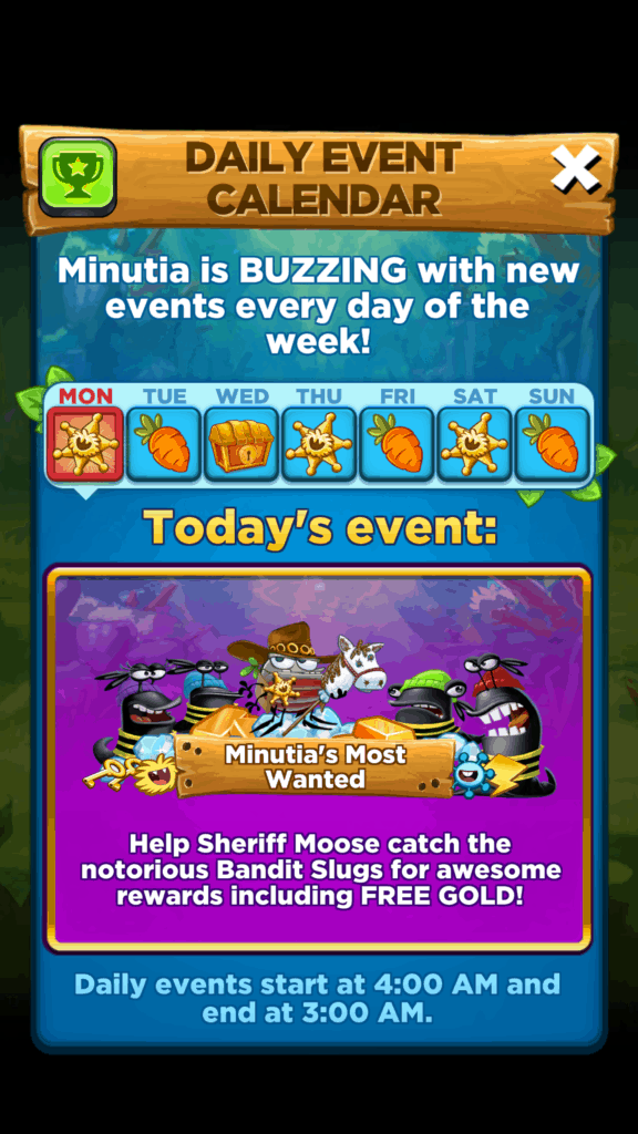 The daily events you can play in Best Fiends.