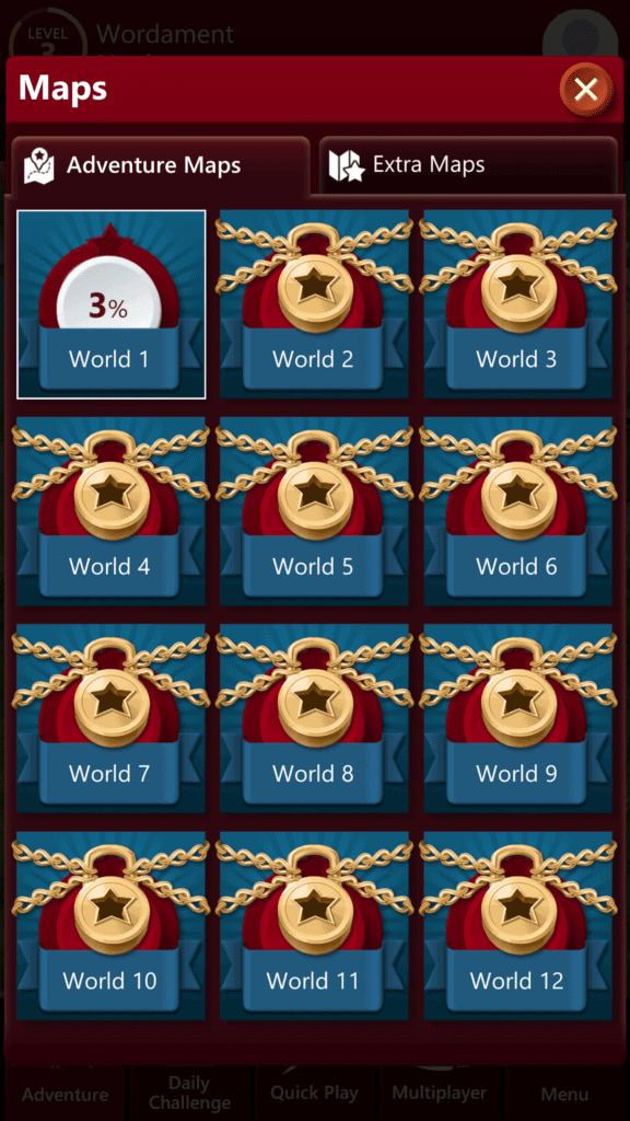 Wordament World Select Screen