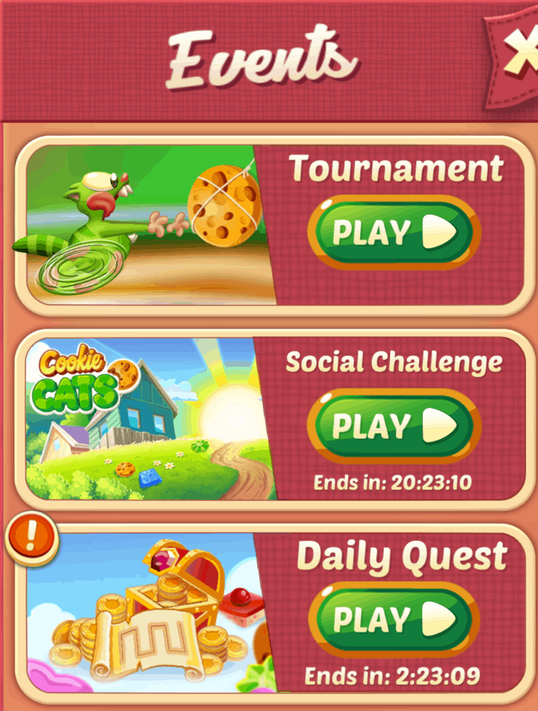 The tournament, social challenge, and daily quest buttons