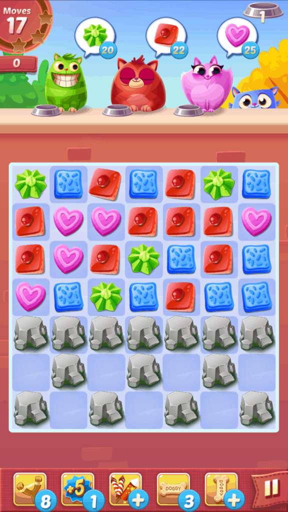 A Cookie Cats level. Cookies and rocks are visible.
