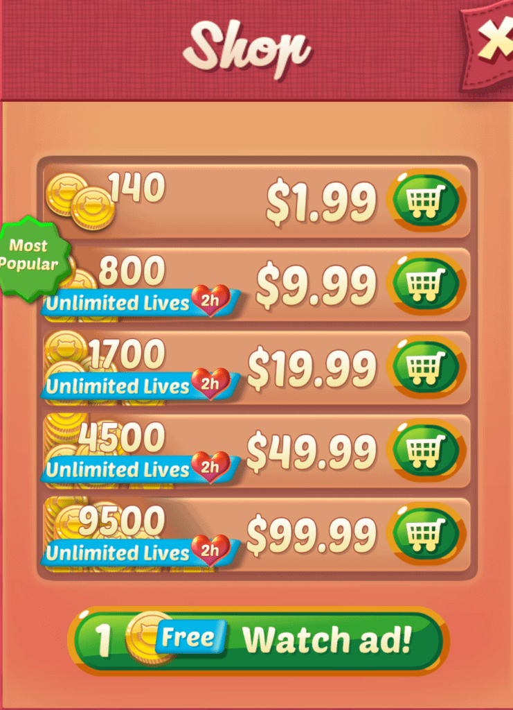 Cookie Cats shop prices