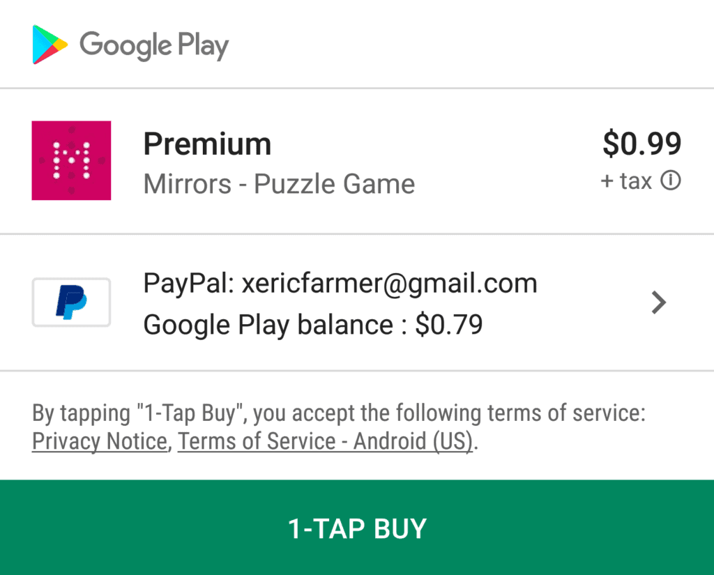 Mirrors Premium costs $1 USD and this removes ads