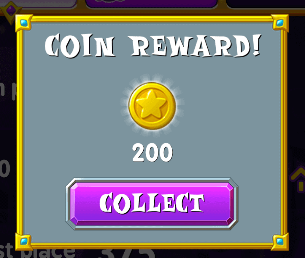 You get 200 coins from coin rewards in Spell Blitz