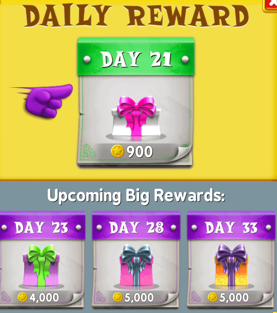 The daily gifts in Spell Blitz. I earned 900 coins from this daily gift.