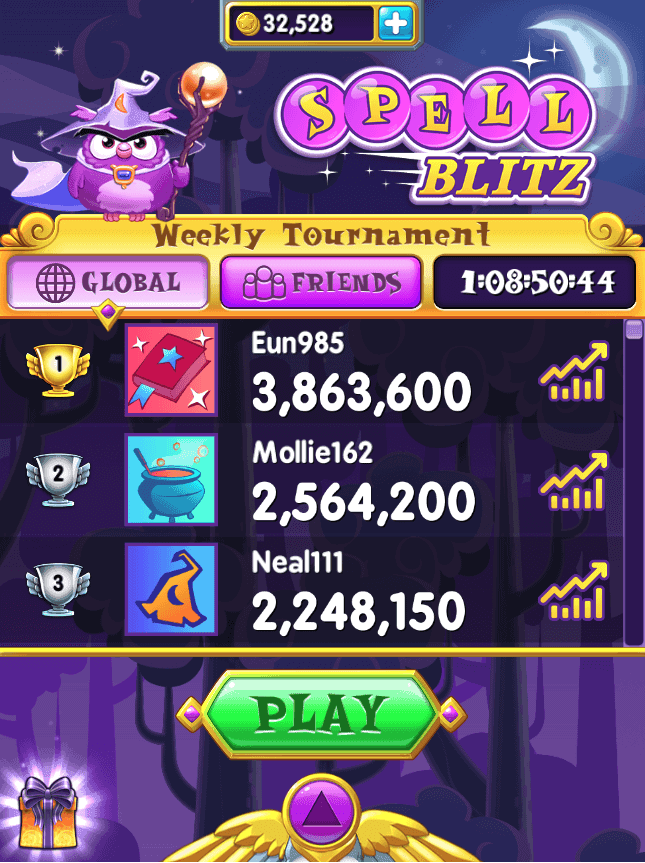 The Spell Blitz main menu. A leaderboard and button are visible.
