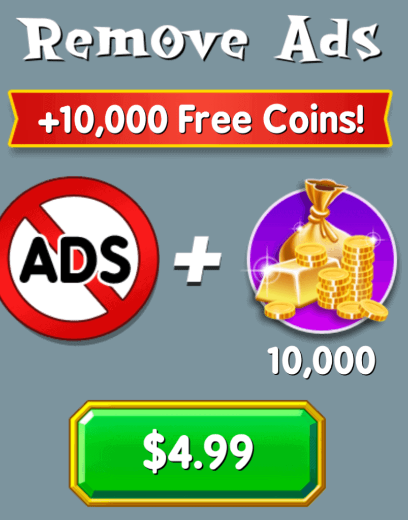 It costs $5 USD to remove ads in Spell Blitz