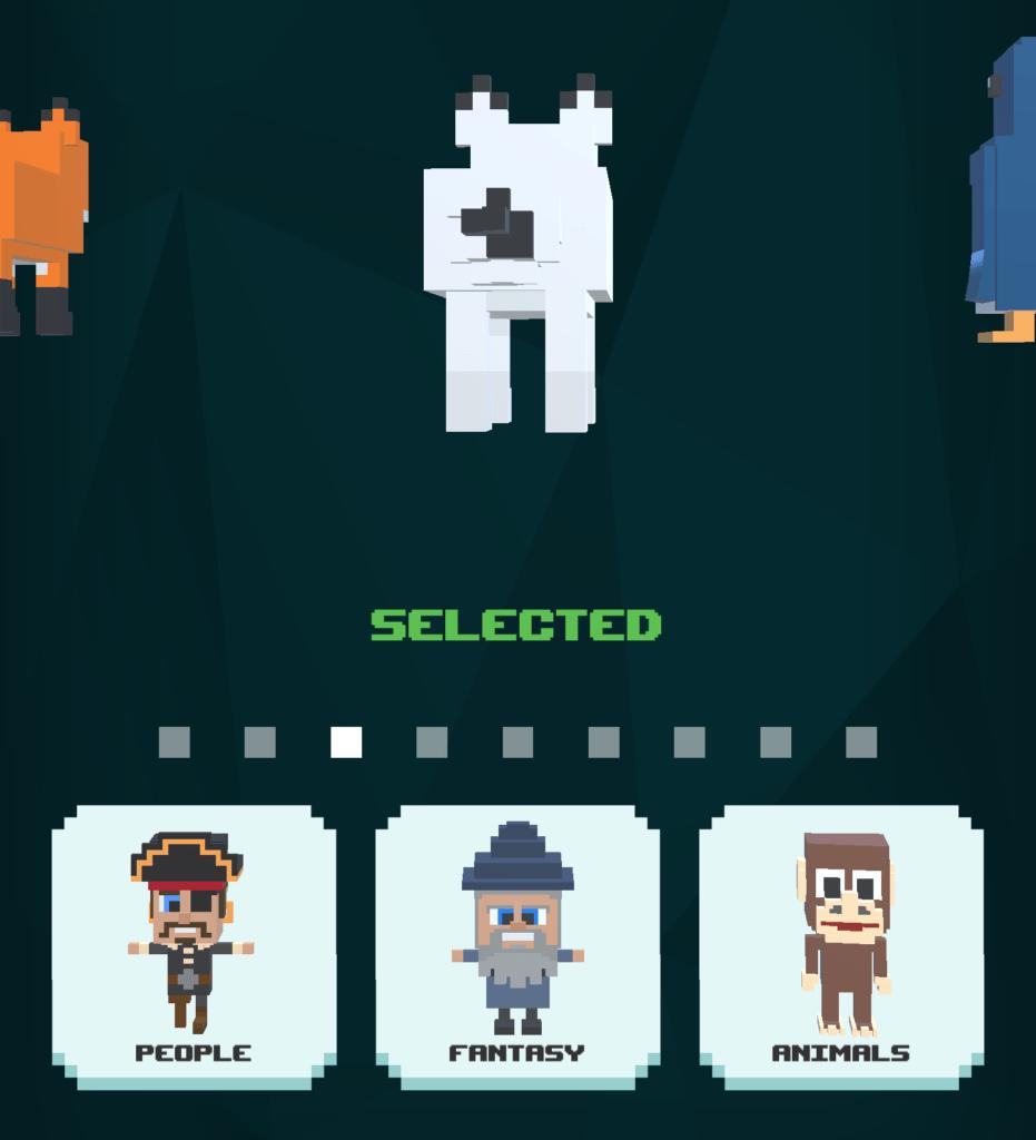 The TileBreaker character screen.