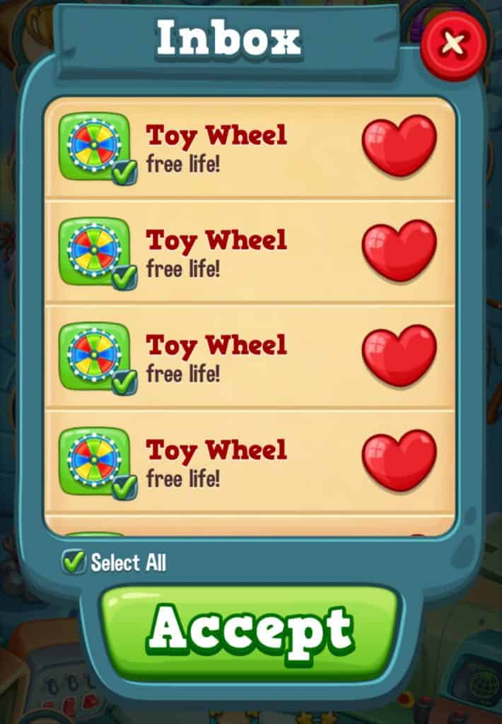 You can save extra lives in Toy Blast in the inbox.