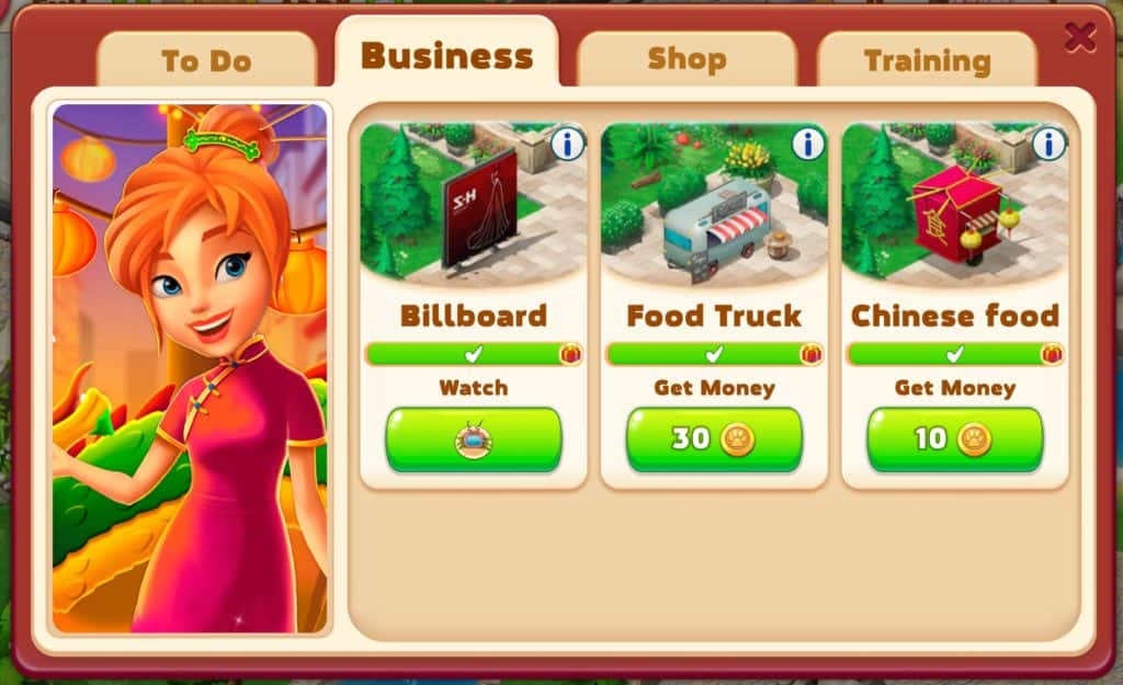 You earn coins from businesses in Family Zoo: The Story. Billboard, food truck, and Chinese food.
