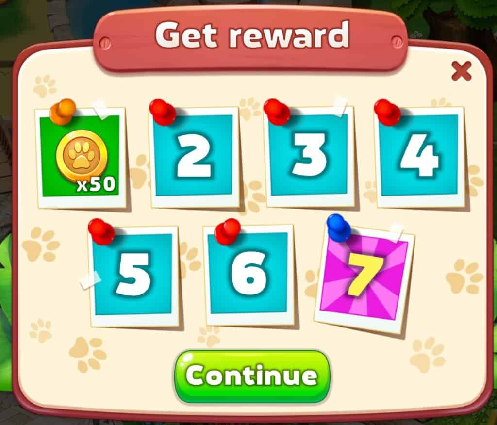You get a reward every day in Family Zoo: The Story for seven days.