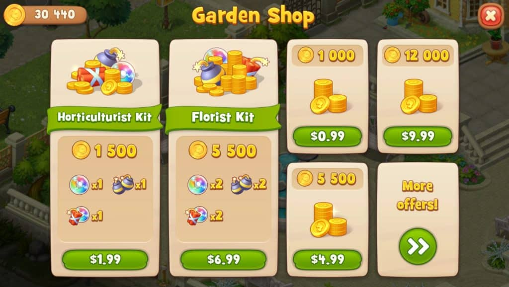 The Gardenscapes store. You can buy coins.