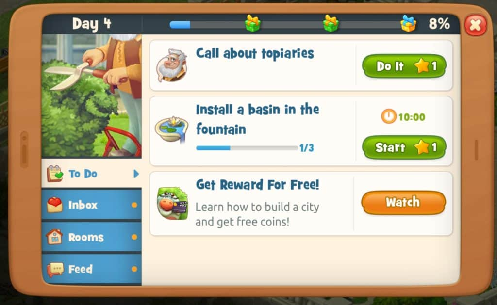 A list of Gardensacpes tasks. I have two tasks that cost one star.