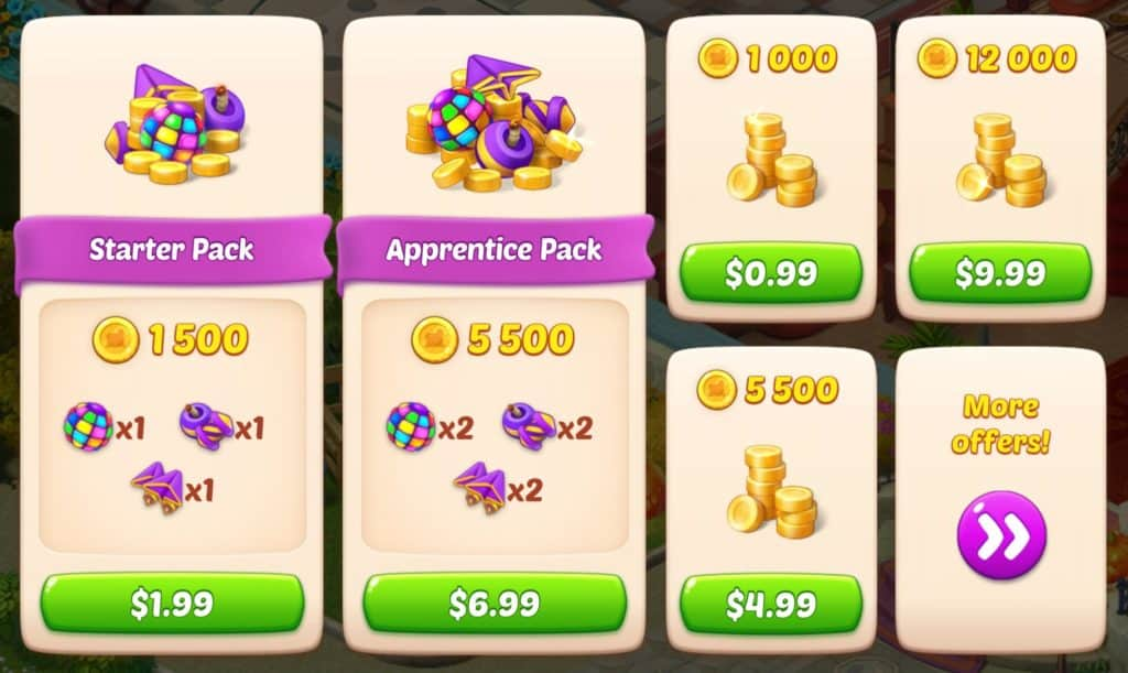 The Homescape store. You can buy coins to use to get powerups, boosters, extra lives, and to continue levels.