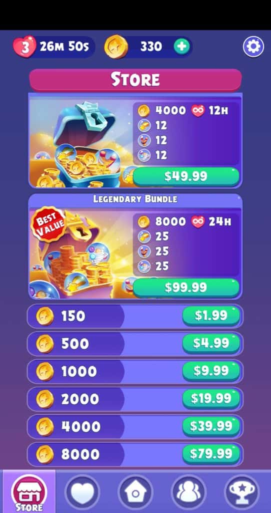 The Angry Birds Dream Blast store. There are multiple coin purchase options.