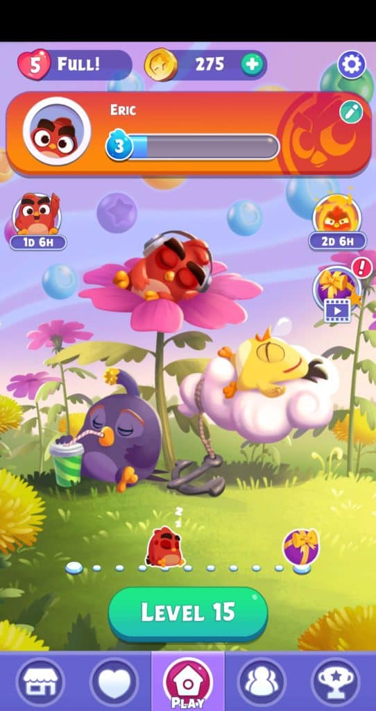 The Angry Birds Dream Blast world map.