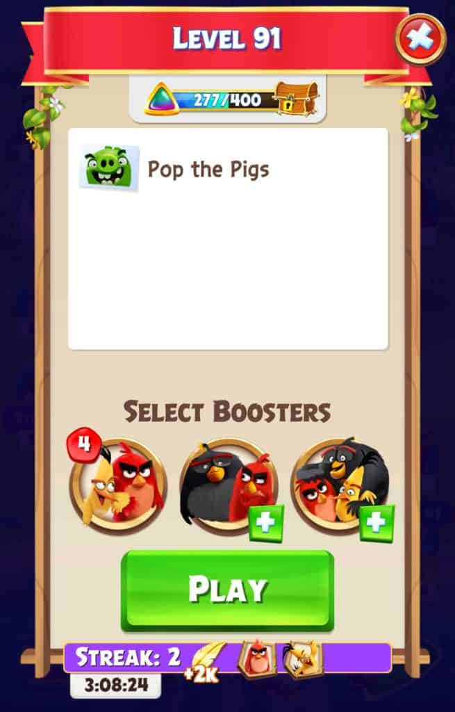 The screen you see before starting levels in Angry Birds Match.