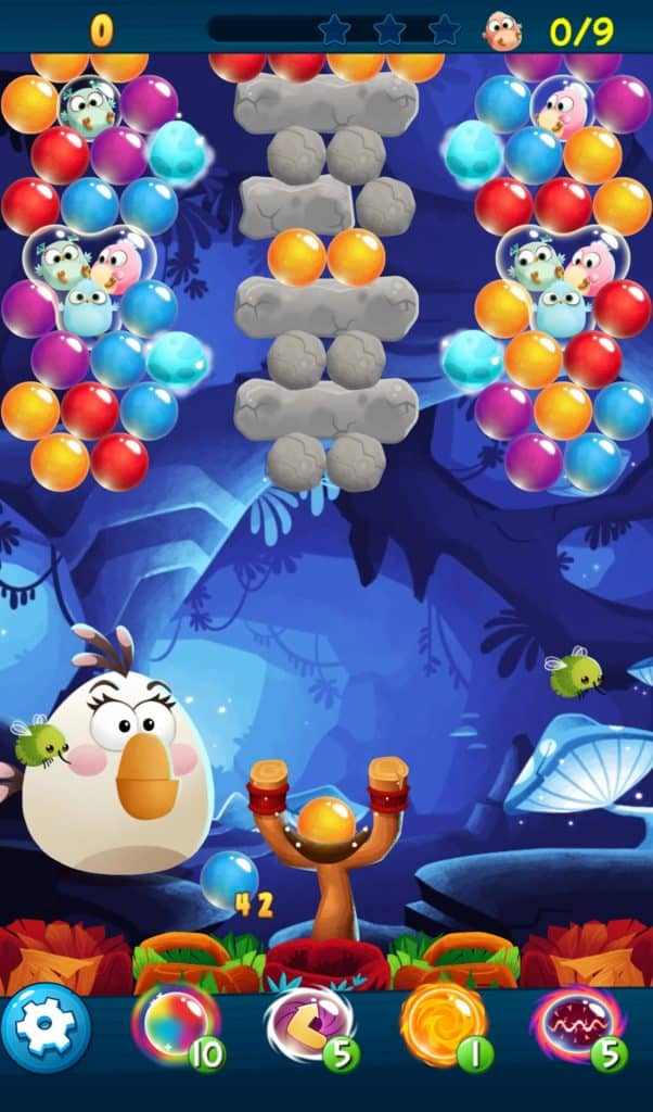 Angry Birds Pop level 158. You need to pop bubbles to free birds.