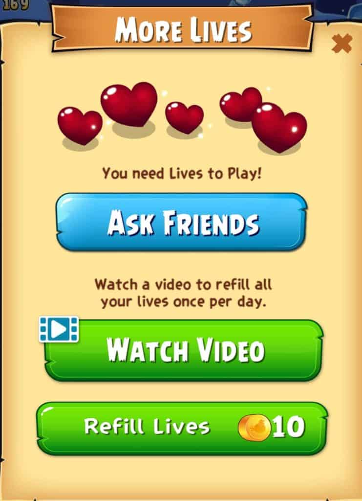 The screen that shows when you run out oflives in Angry Birds Pop.