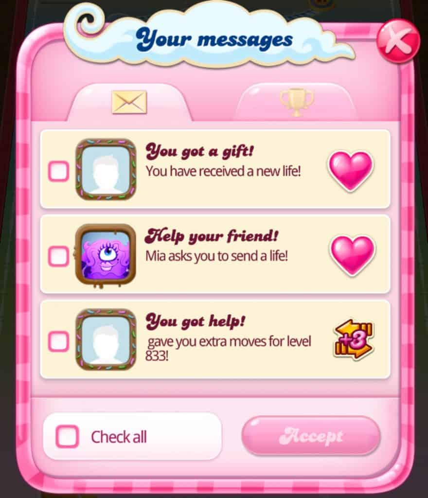 You can save extra lives given to you from players in Candy Crush Saga.