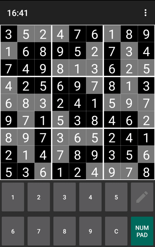 A completed Sudoku puzzle.