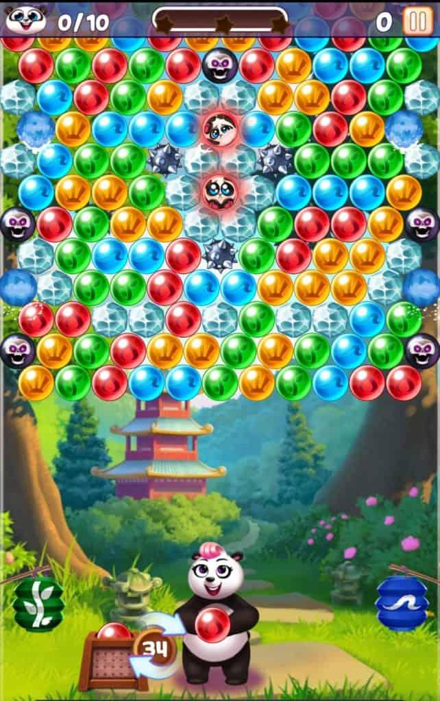Panda Pop level 113. You need to pop bubbles to save pandas,