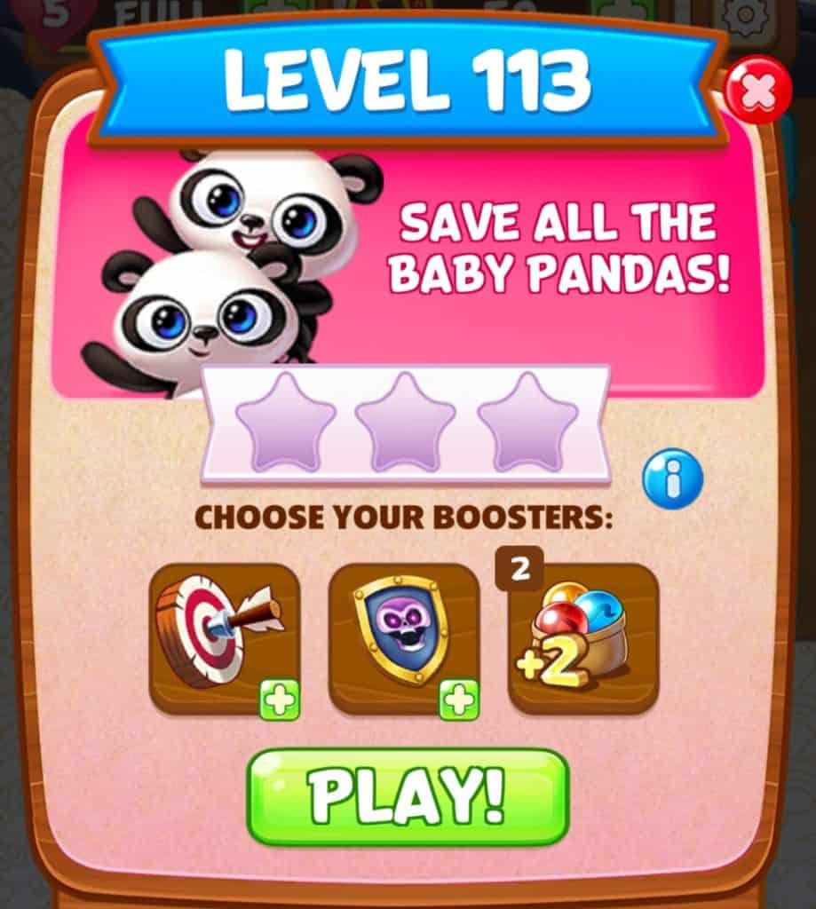 The Panda Pop level start screen.