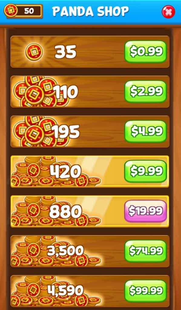 The coin store in Panda Pop.
