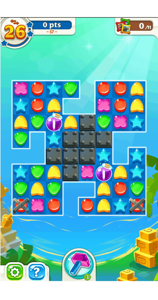 A Scrubby Dubby Saga level. There are puzzle pieces and powerups.