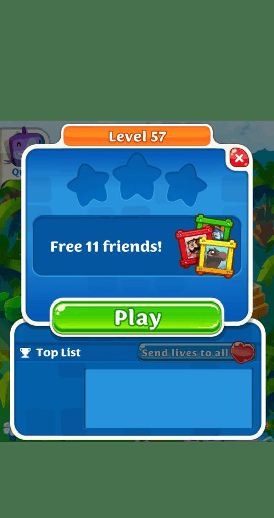 Scrubby Dubby Saga level 57 start screen. Free 11 friends!