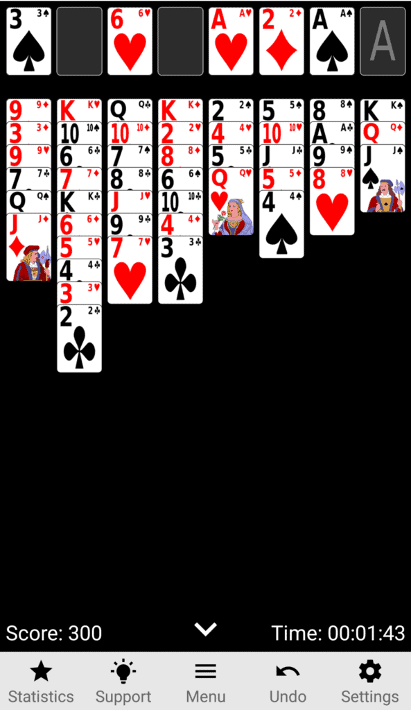 A Freecell game board.