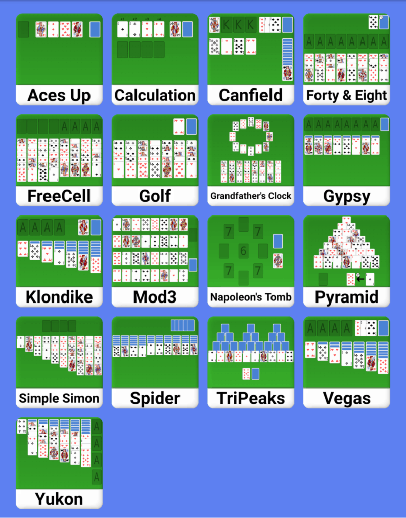 You can play 17 types of solitaire games in Simple Solitaire Collection!