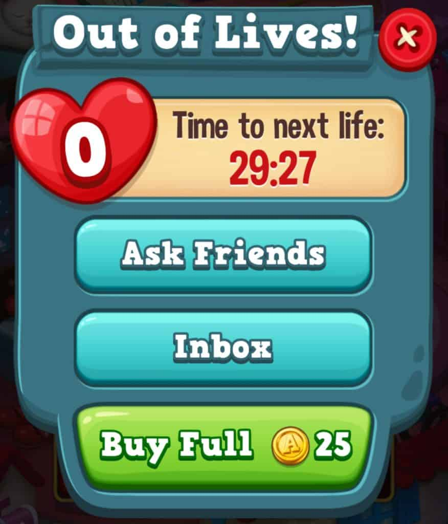 The screen that shows when you run out of lives in Toy Blast.