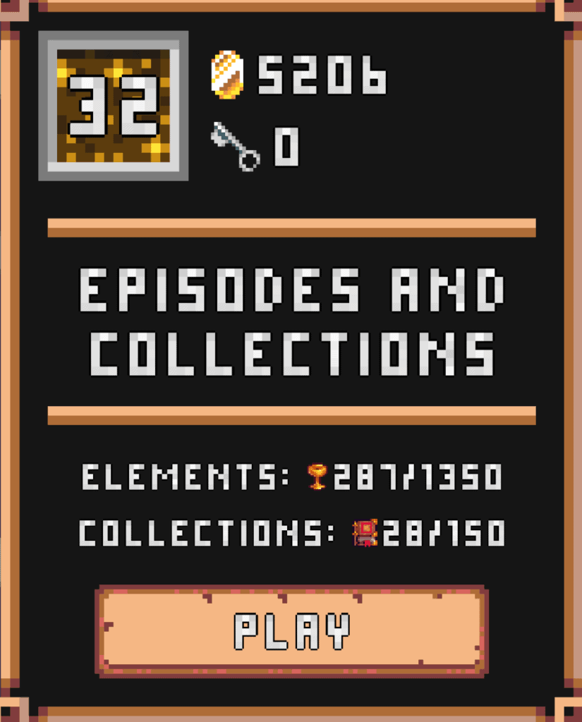 The Minesweeper Collector episodes and collections screen. You can see the progress of completing levels.