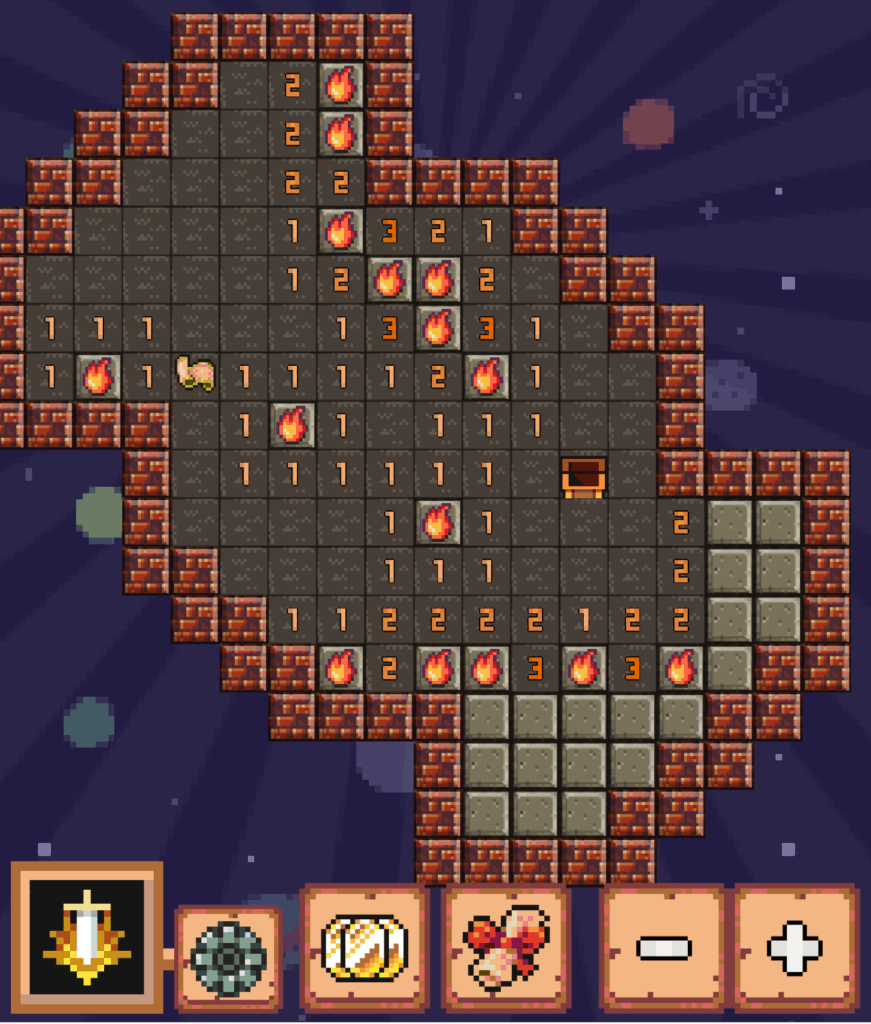A Minesweeper Collector level. Mines are marked, and there are unmarked squares.
