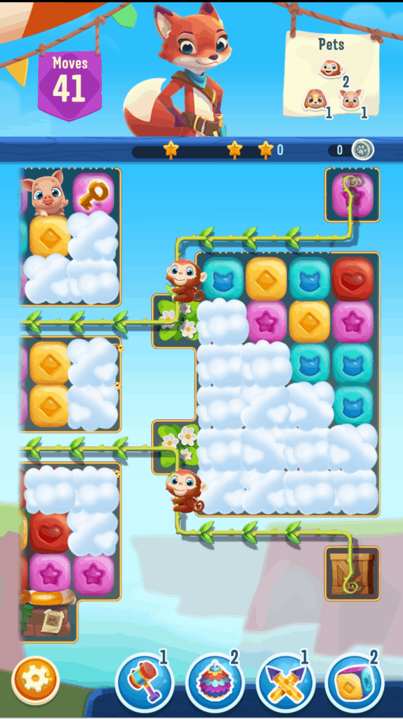 A Pet Rescue Puzzle Saga level. Clouds are pets are shown.