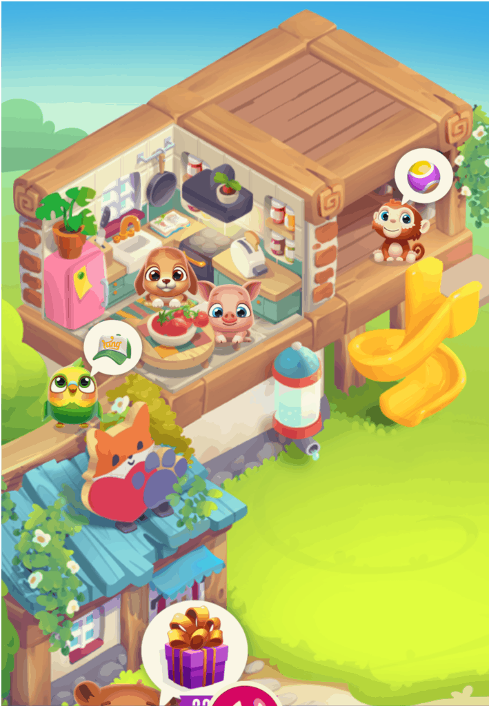 The Pet Rescue Puzzle Saga house. Multiple pets are shown.