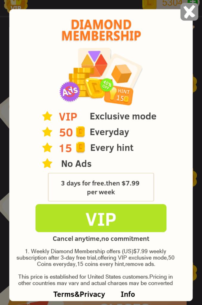 The Diamond VIP membership. It costs $8 per week.