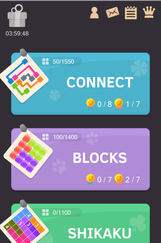The Puzzledom main menu. Connect, blocks, and shikaku puzzles are shown.