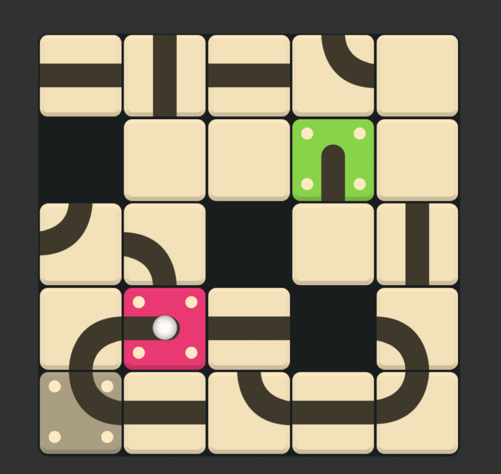 A Puzzledom level. The goal is to roll a ball to the right spot.