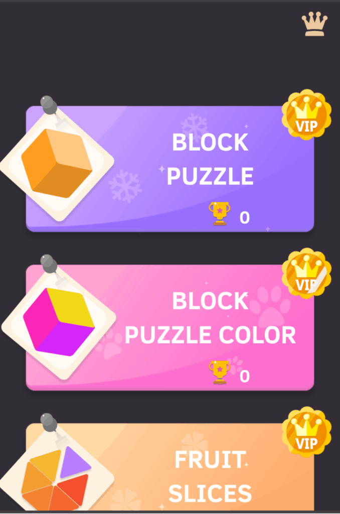 The Puzzledom VIP levels. Block puzzle, block puzzle color, and fruit slices.