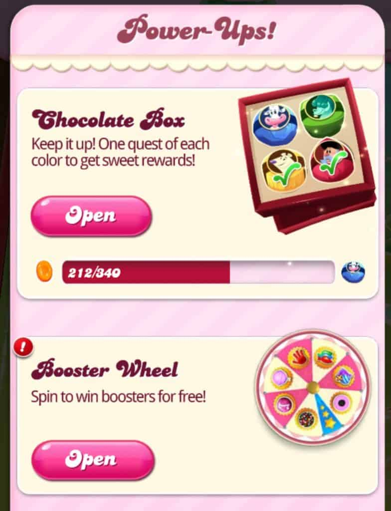 The chocolate box and the booster wheel events are shown.