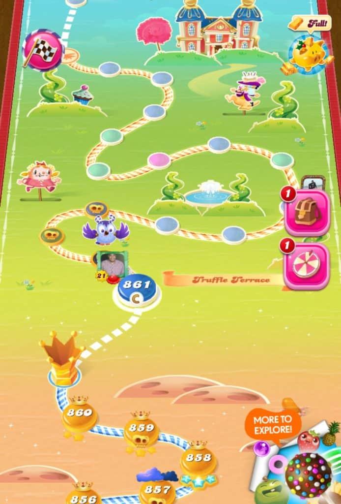 The Candy Crush Saga world map.