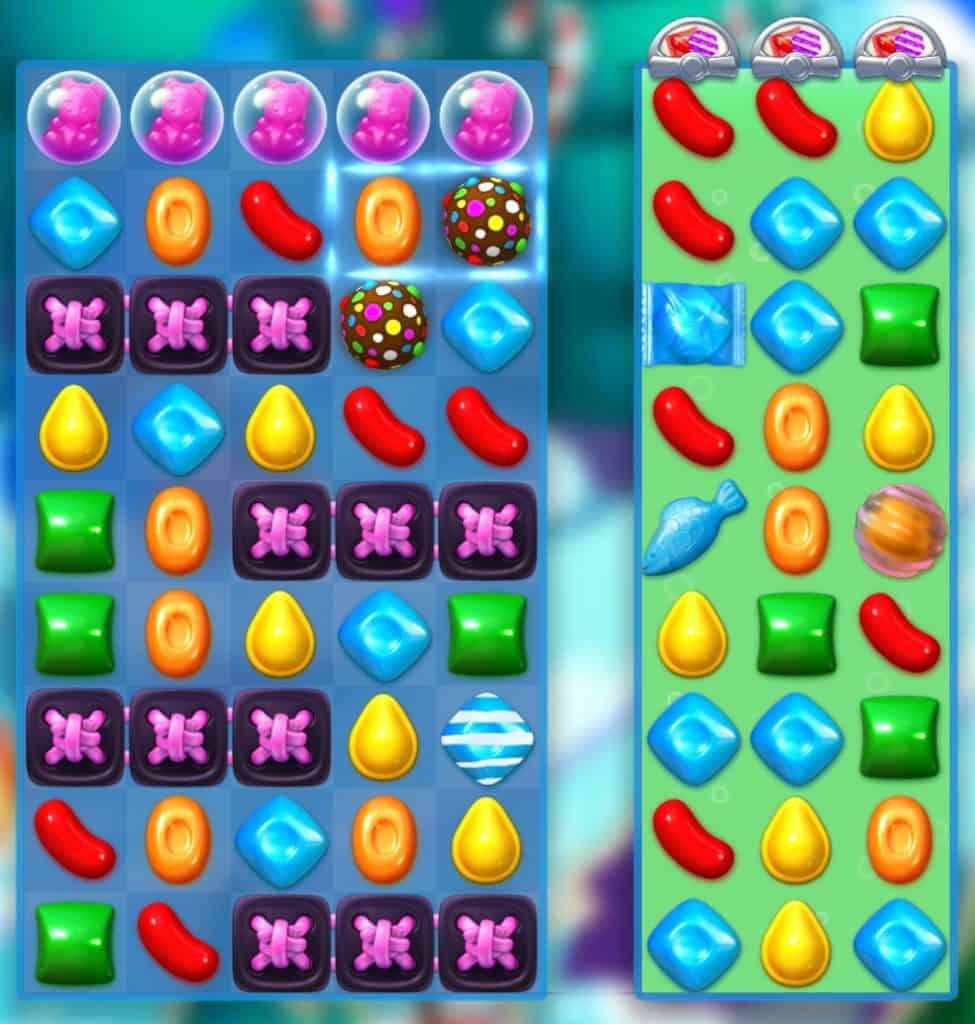 A Candy Crush Soda Saga level. candy are bears are in this level.