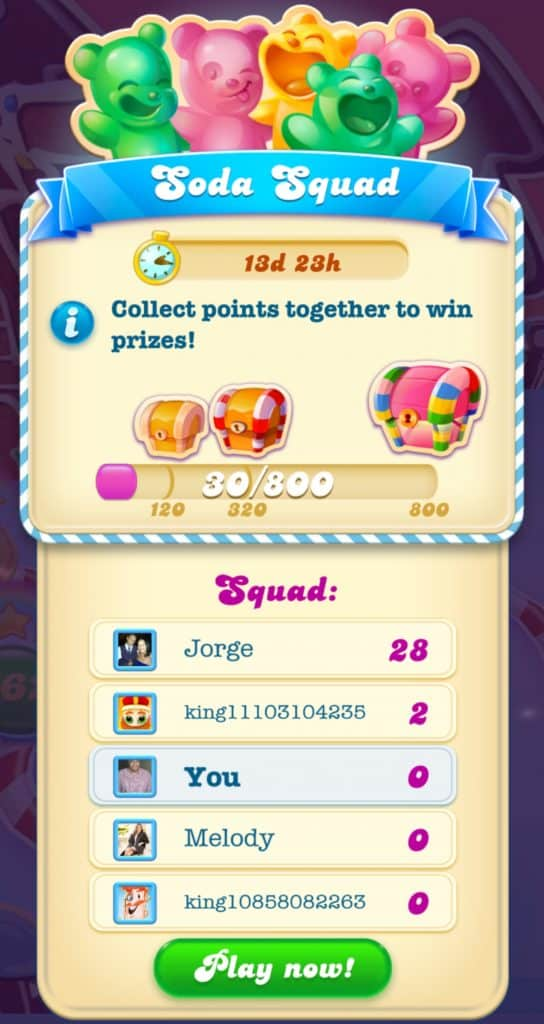The soda squad event. A leaderboard is shown.
