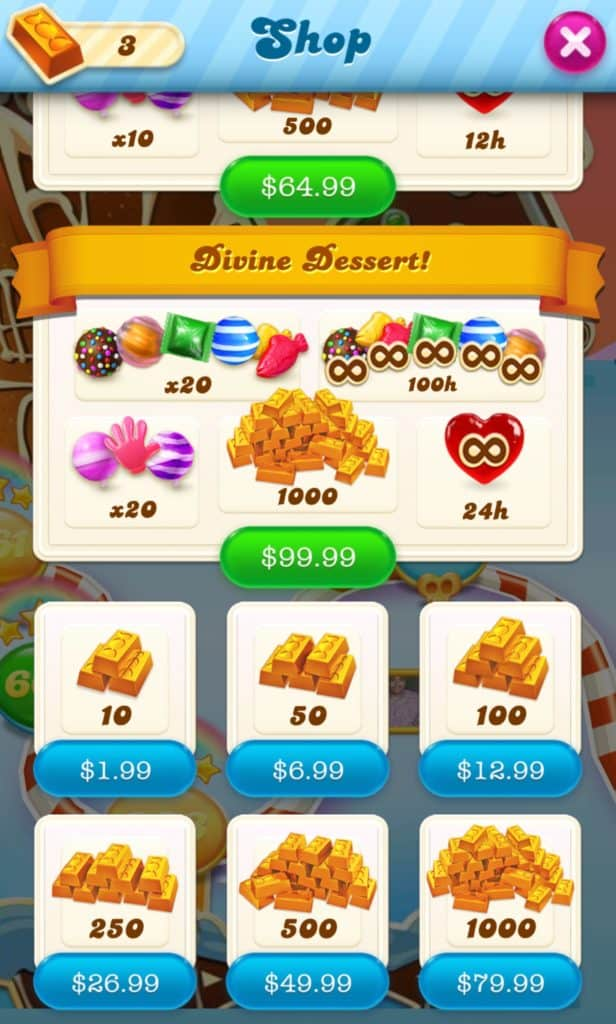 The Candy Crush Soda Saga shop. You can buy multiple gold bar bundles.
