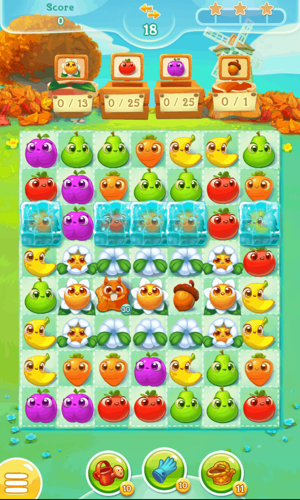 A Farm Heroes Super Saga level. Fruits and acrons and shown.