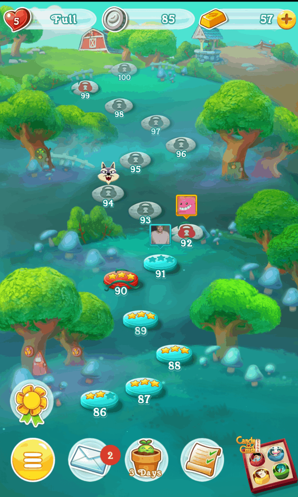 The Farm Heroes Super Saga world map. A path of levels is shown.