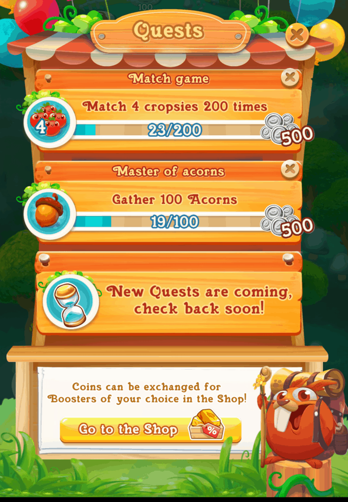 The quests screen. Three quests are shown.
