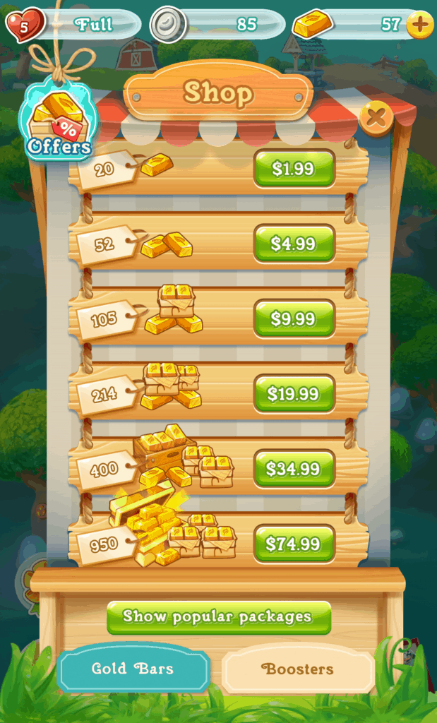 The Farm Heroes Super Saga shop. Multiple options to purchase gold is visible.