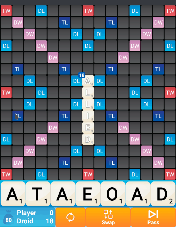 A Classic Words Solo puzzle board. The Allied word is visible.